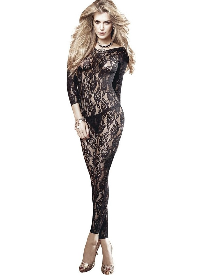 Long Sleeve All Over Lace Footless Bodystocking