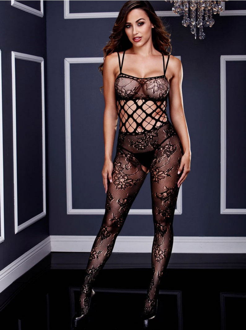 Black Lacey Seamless Knit Strappy Bodystocking W/ Open Butt