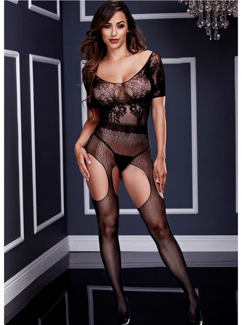 Black Lacey Seamless Knit & Fishnet Bodystocking W/ Open Crotch