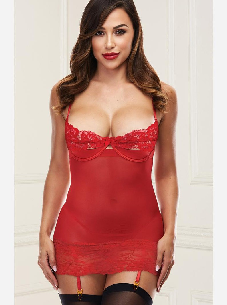 Mesh & Lace Underwired Chemise W/ Cut-Out Back