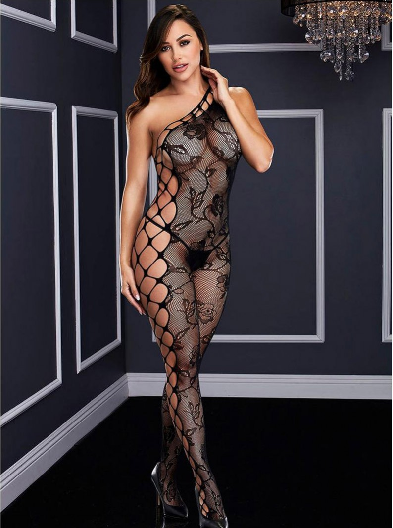 Black Vine Fishnet & Diamond Net Crotchless Bodystocking
