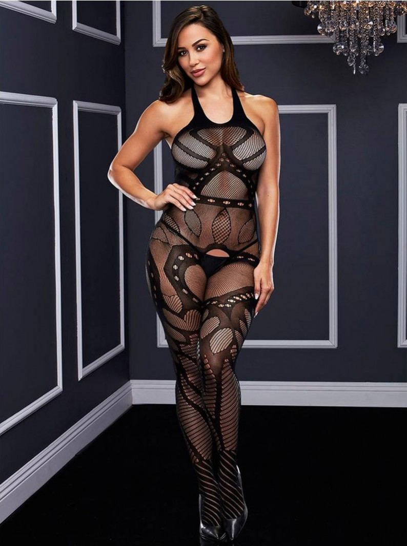 Black Jacquard Fishnet Crotchless Bodystocking W/ Open Butt