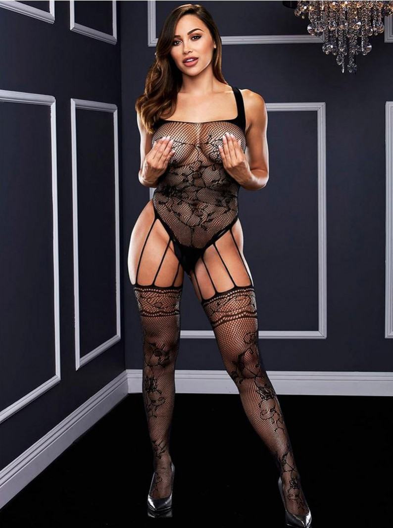 Black Floral Designed Fishnet Teddy Inspired Bodystocking