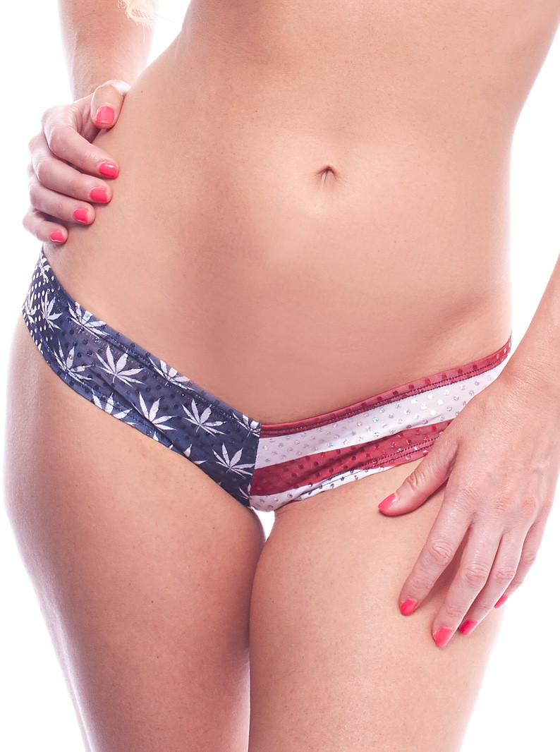 Patriotic American Pot Print Micro Short Bikini Bottom