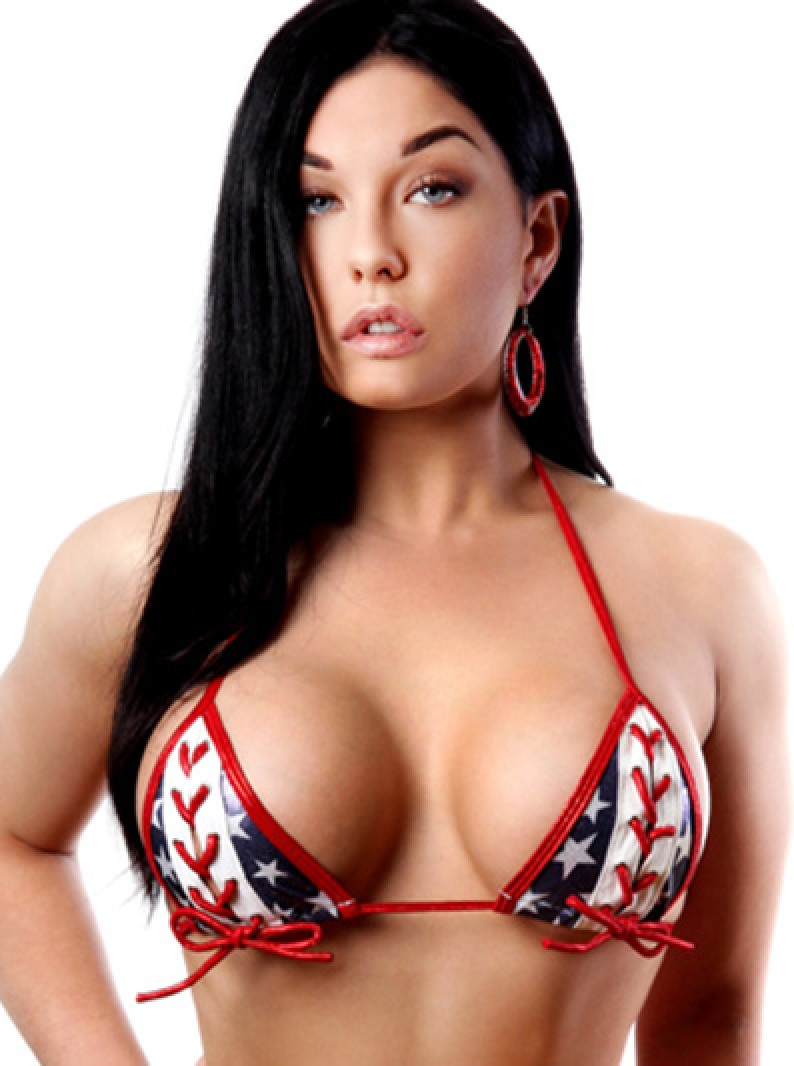 Patriotic USA Flag Lace-Up Open Bust Bikini Triangle Top