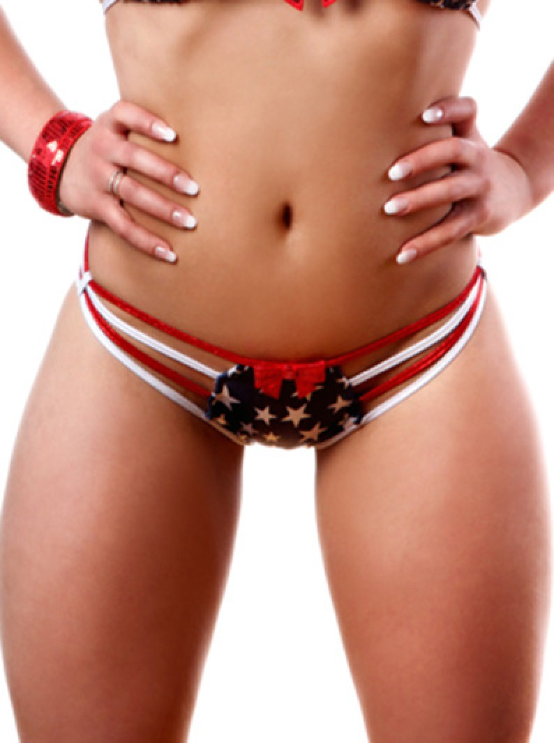 Patriotic USA Flag Strappy Bikini Brazilian Bottom
