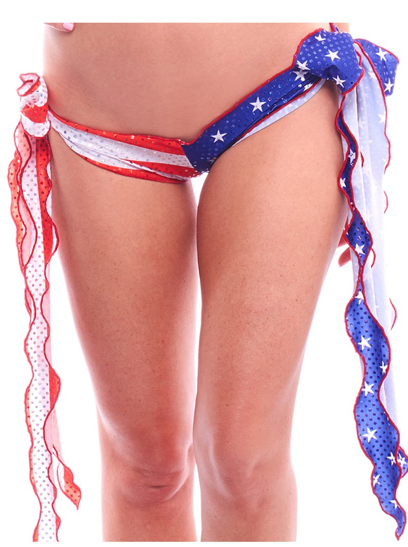 Patriotic American USA Flag Print Ribbon Tie-Side Brazilian Biki