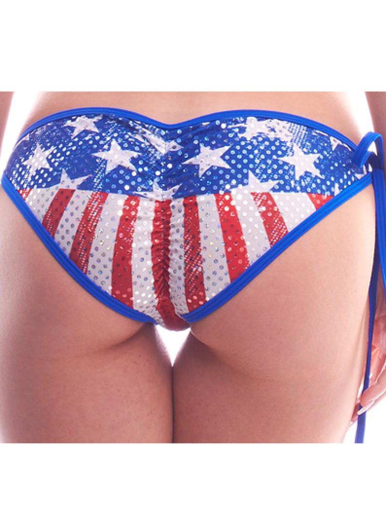 Patriotic Faded Glory Tie-Side Scrunch Bikini Bottom