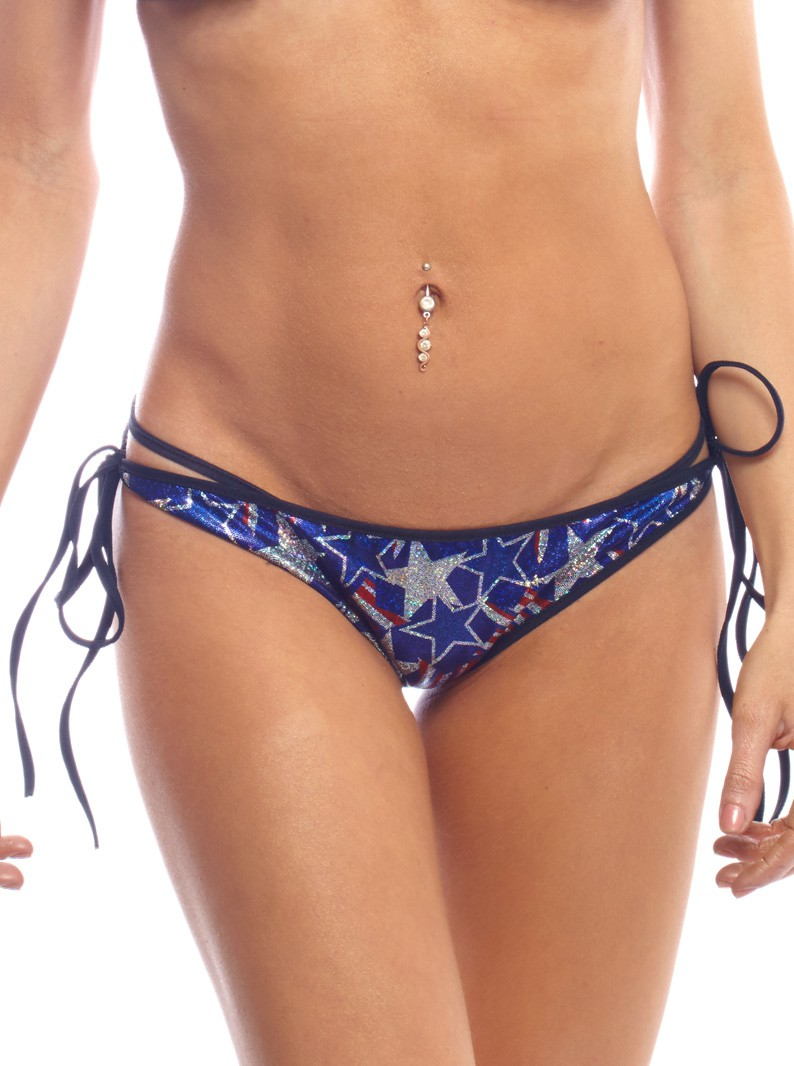 Patriotic Spangled Star Print Tie-Side Brazilian Bikini Bottom