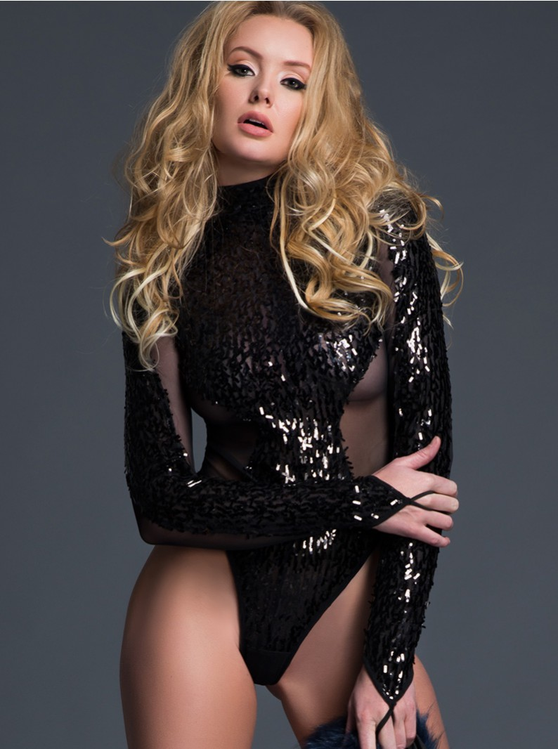 Sheer & Sequins Long Sleeved Bodysuit