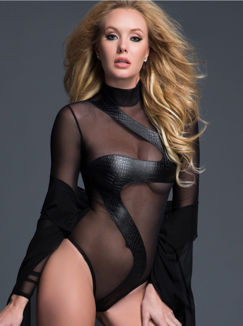 Sheer Long Sleeved Bodysuit W/ Wet-Look Snake Design