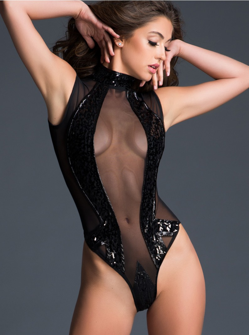 Sheer & Sequins Sleeveless Bodysuit