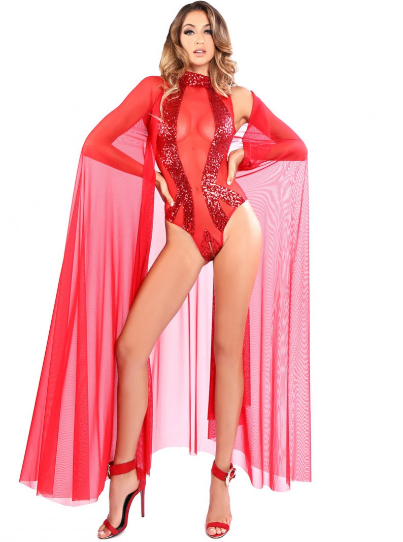 Red Sheer Long Cape