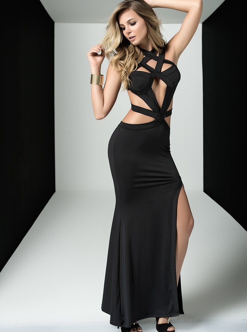 Black Caged Sleeveless Gown