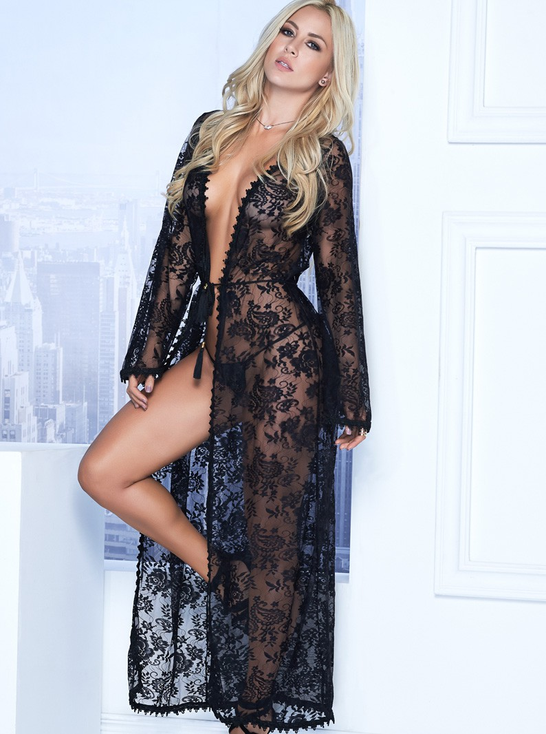 Stretch Lace Long Robe & G-String