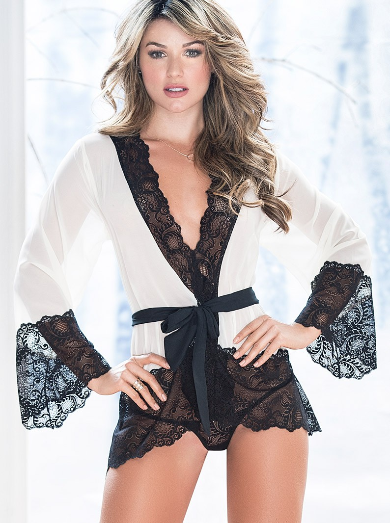 Stretch Lace & Sheer Robe & Thong