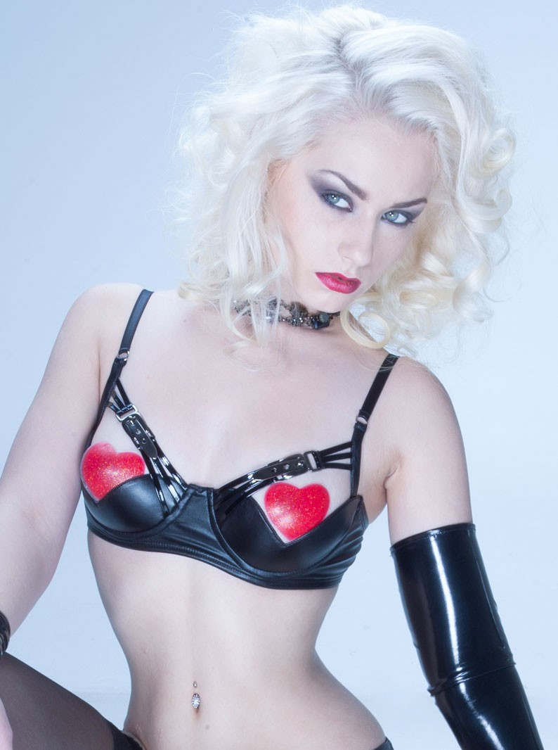 Brandy Wet-Look Open-Cup Underwired Strappy Bra