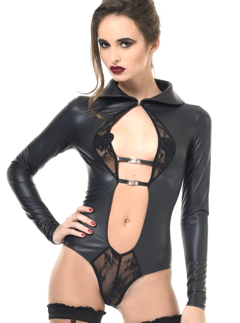 JULIE WET-LOOK & LACE COLLARED BODYSUIT