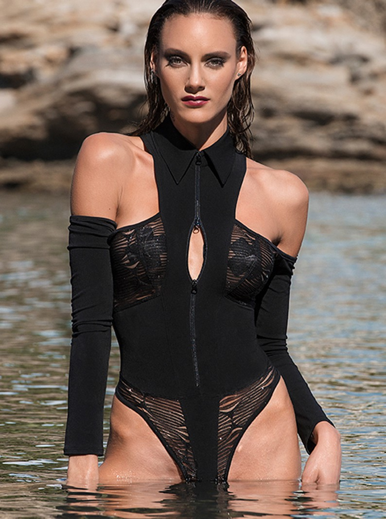 Adrianna Shimmering Crotchless Open Shoulder Body Suit