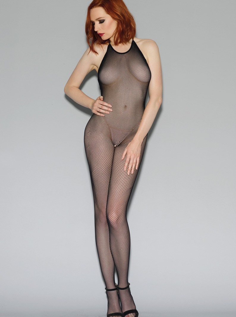 Black Fishnet Halter Bodystocking W/ Open Crotch