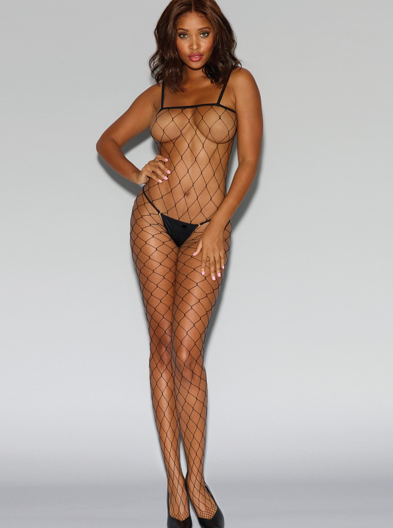 Black Fence Net Bodystocking