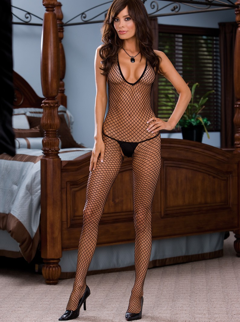 Diamond Net Crotchless Bodystocking