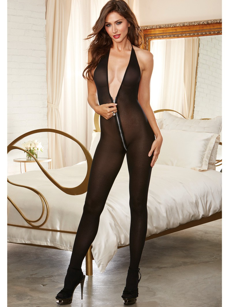Opaque Bodystocking with Silver Zipper Opening