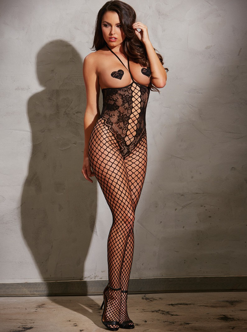 Knitted Lace & Fishnet Open Bust Bodystocking W/ Open Crotch