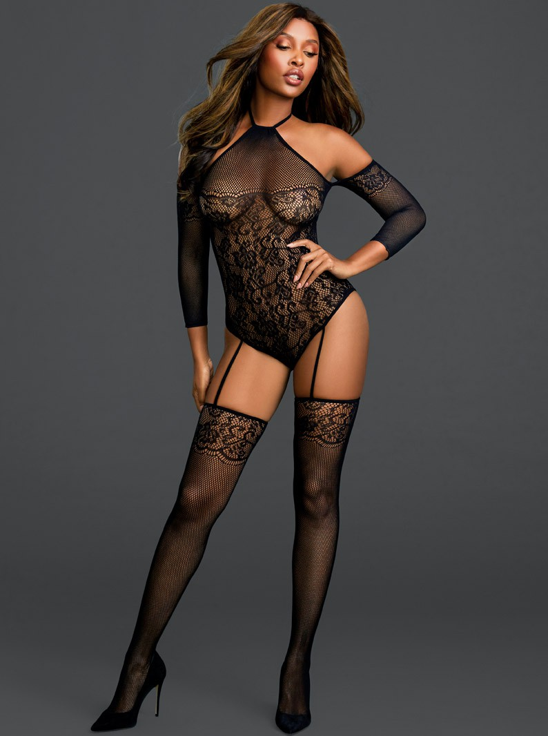 Black Floral Fishnet Bodysuit W/ Attached Thigh Highs