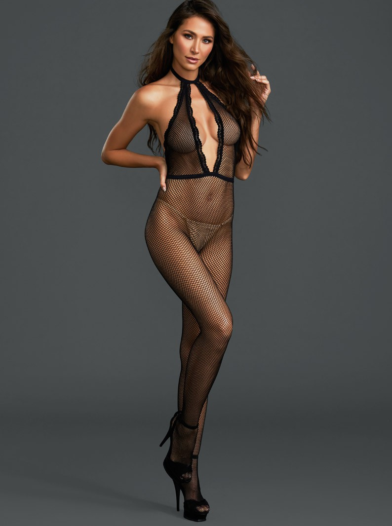 Black Fishnet Plunging Front Bodystocking W/ Open Crotch