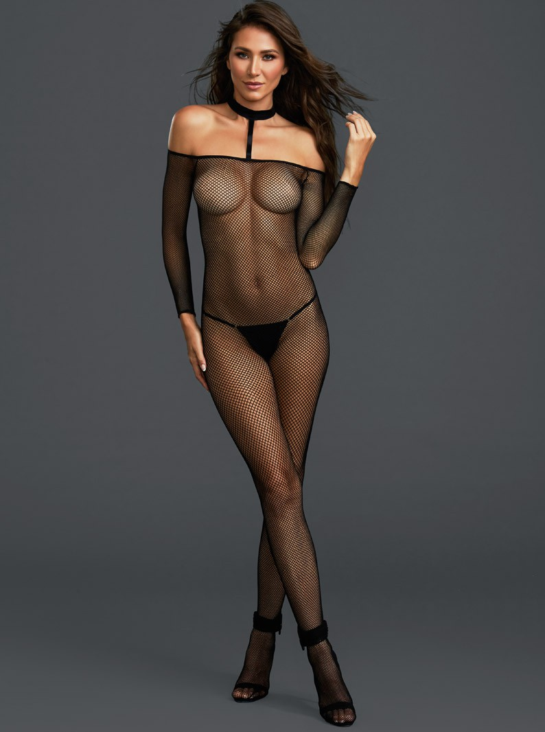 Black Fishnet Crotchless Bodystocking W/ Attached Collar