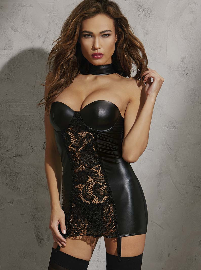 Faux Leather & Lace Underwired Choker Style Chemise Dress