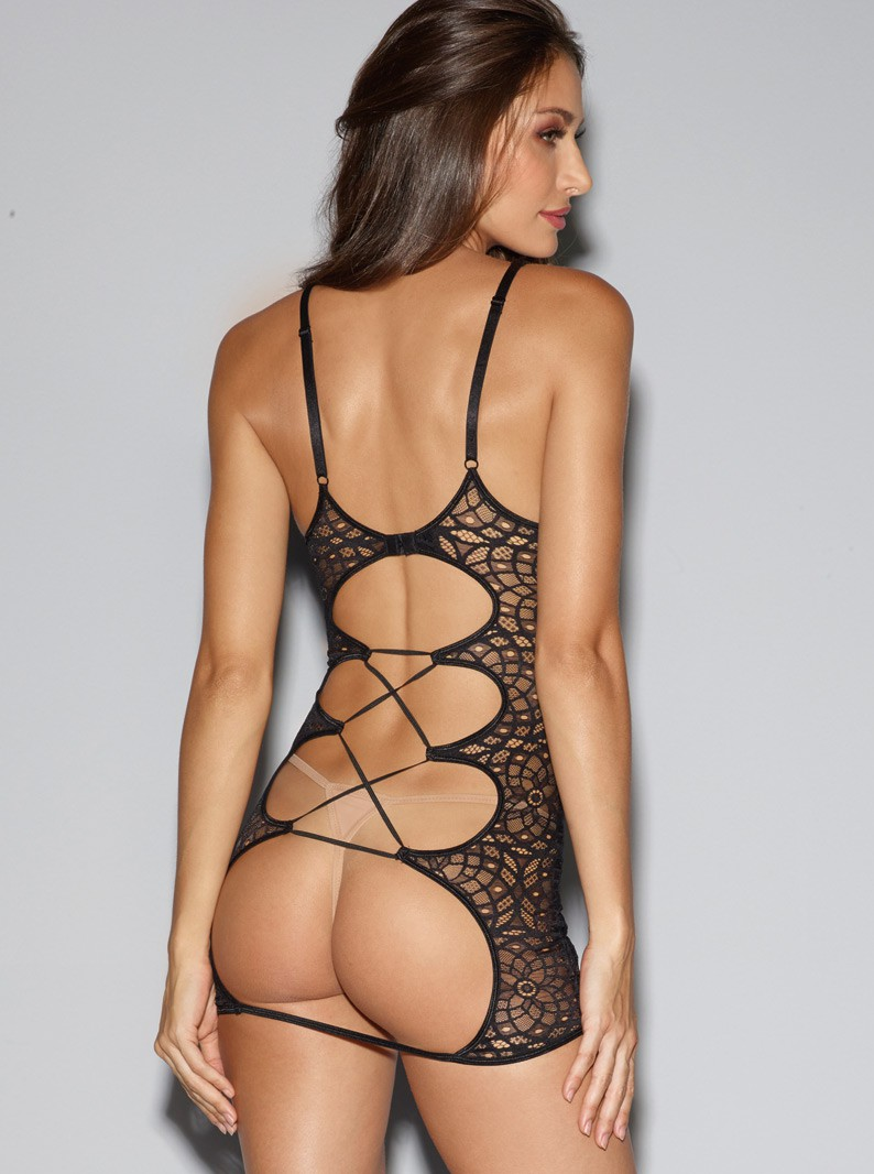 Mosaic Lace & Micro Fishnet Underwired Chemise & Thong
