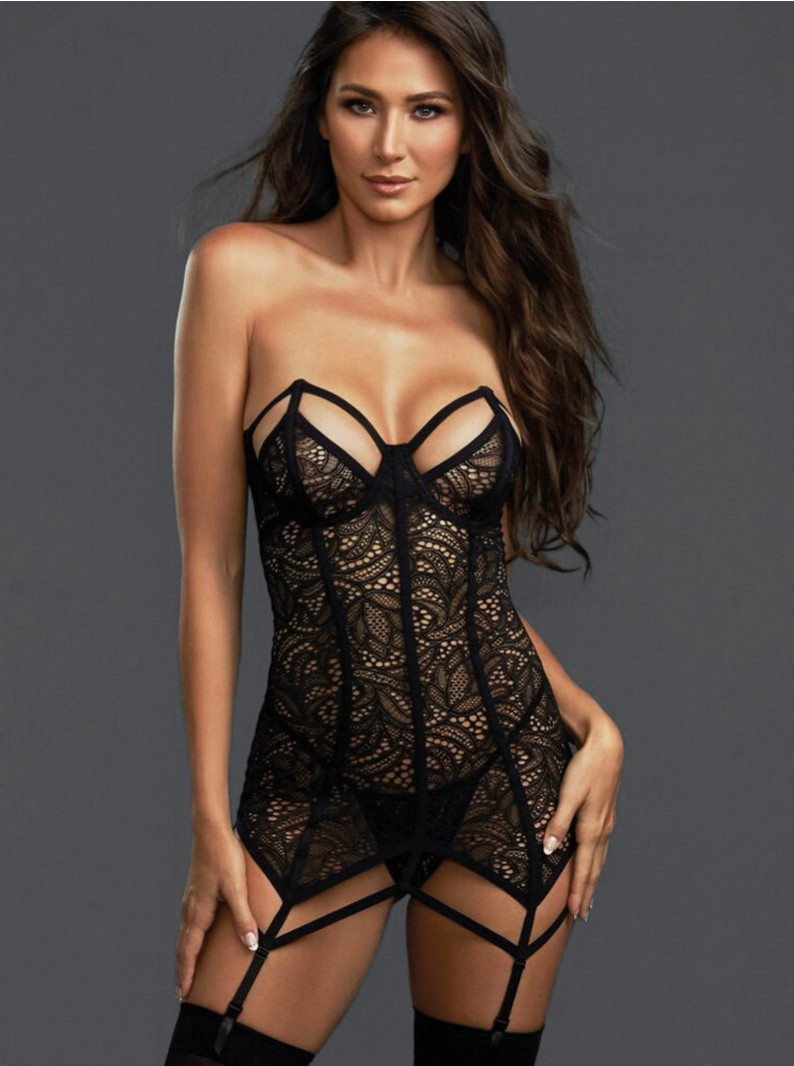 Stretch Lace Underwired Chemise W/ Boning & Thong