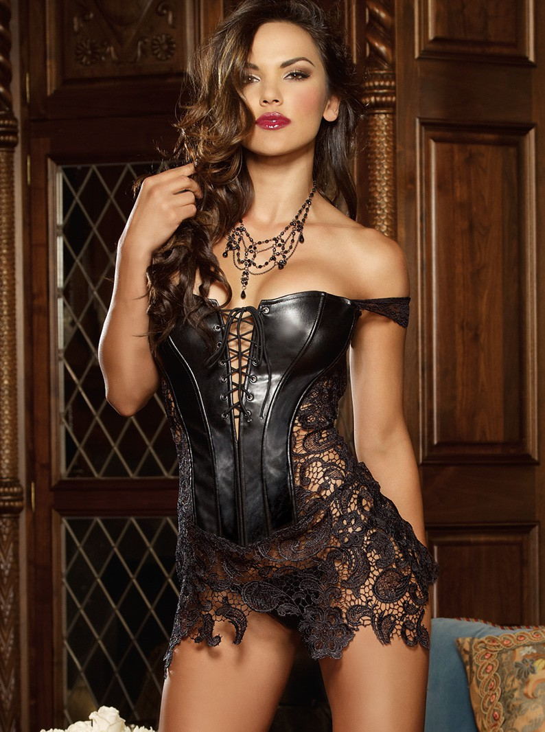Faux Leather n Lace Chemise & Thong