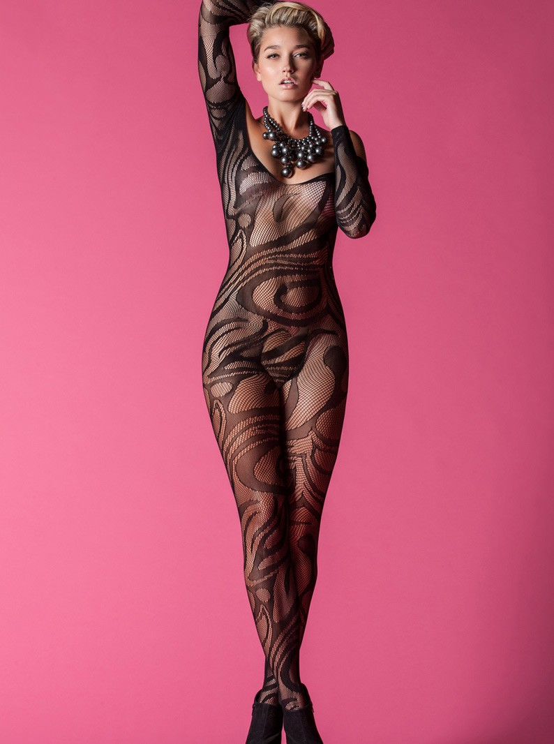 Black Seamless Knit & Swirls Bodystocking
