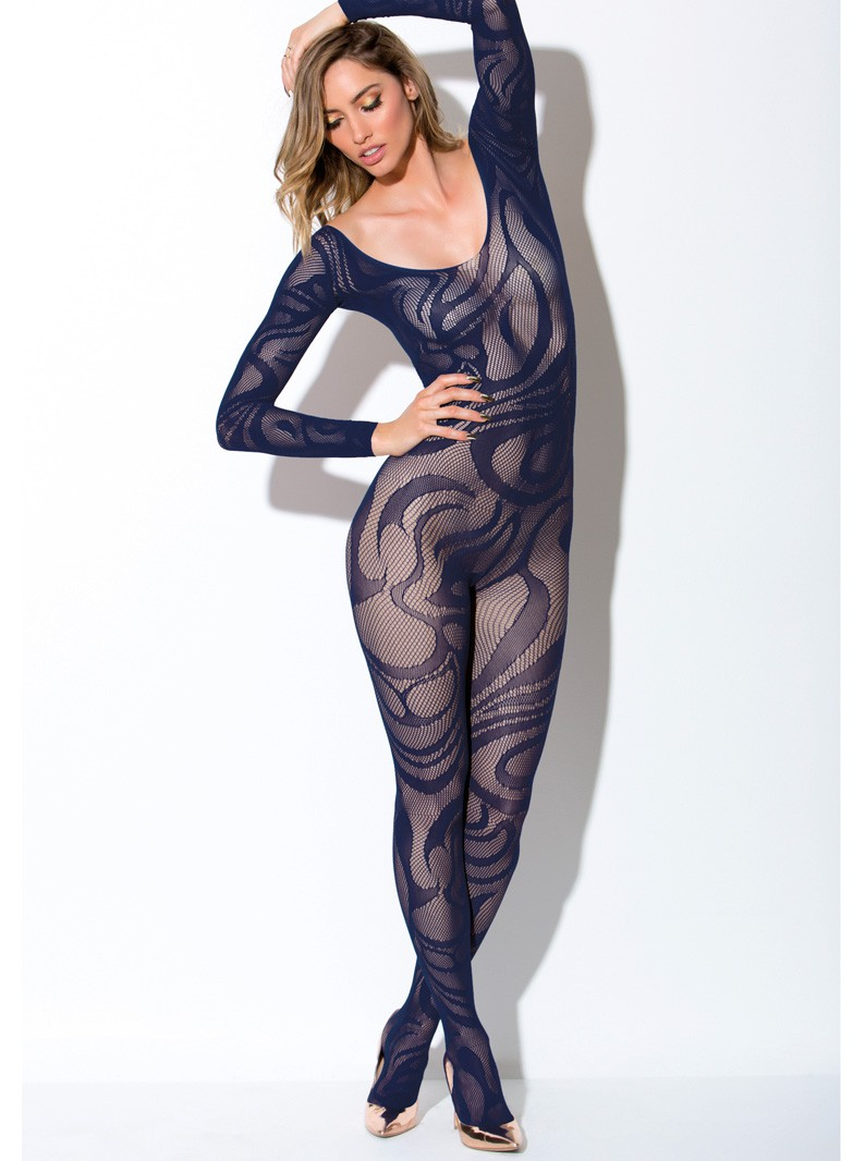 Navy Blue Seamless Knit & Swirls Bodystocking