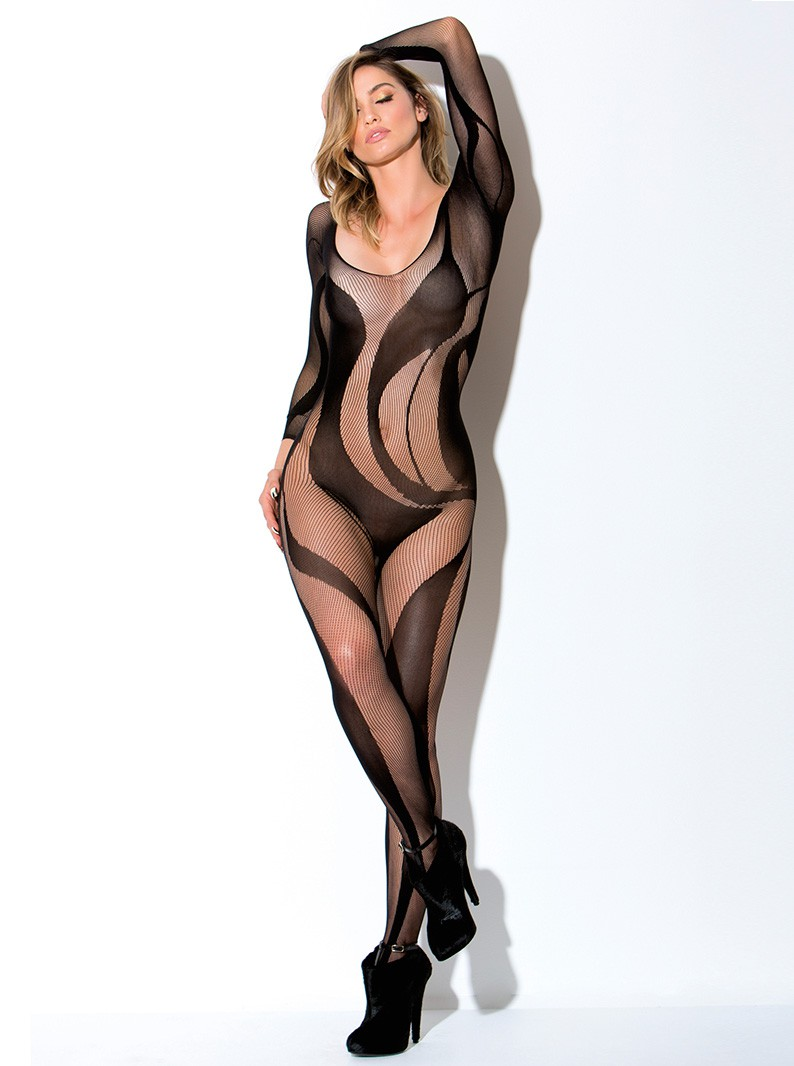 Seamless Knit Bodystocking w/ Opaque Swirls