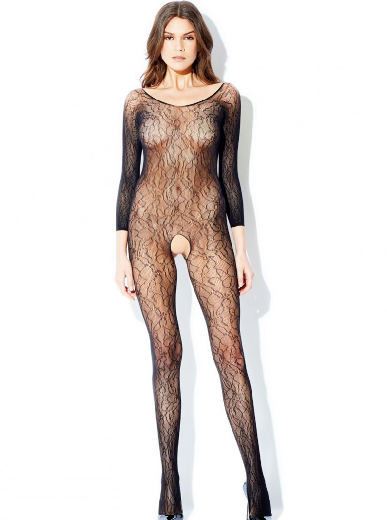 Black Lace Electric City Bodystocking W/ Open Crotch
