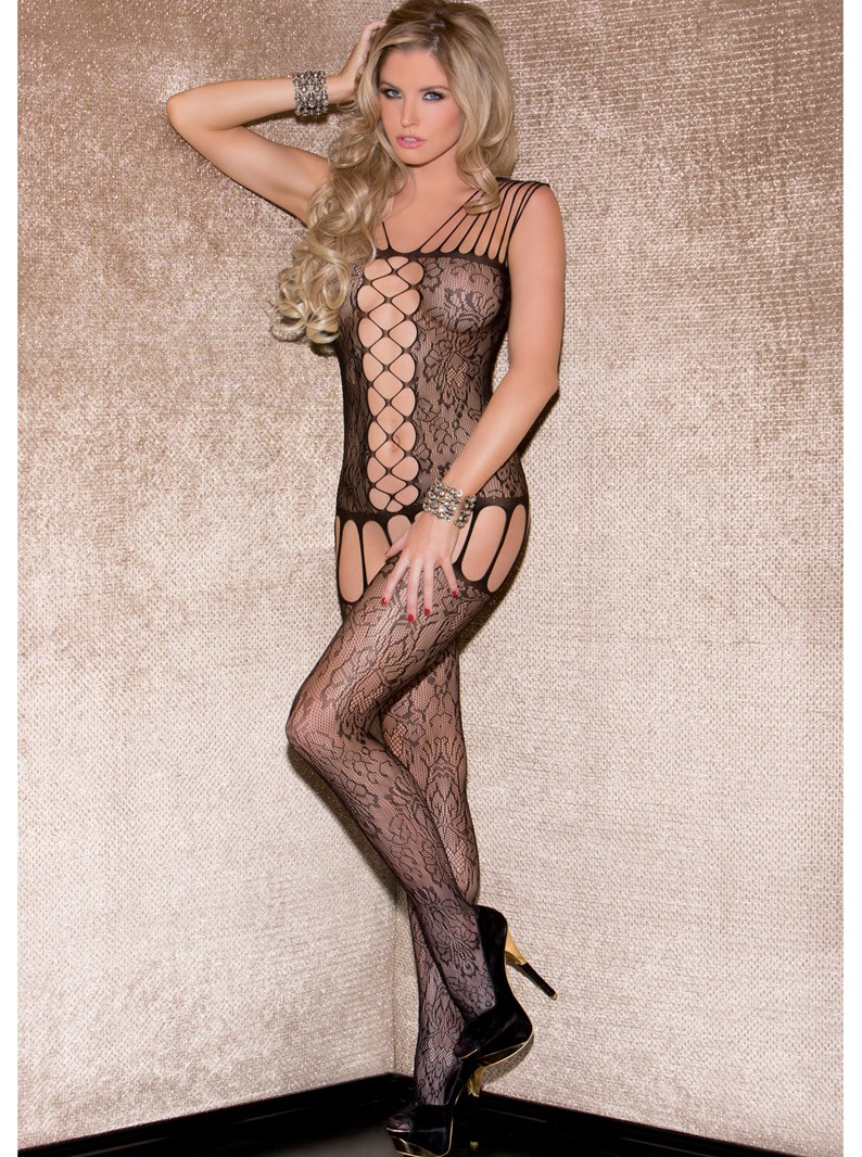 Live to Tease Strappy Floral Lace Bodystocking