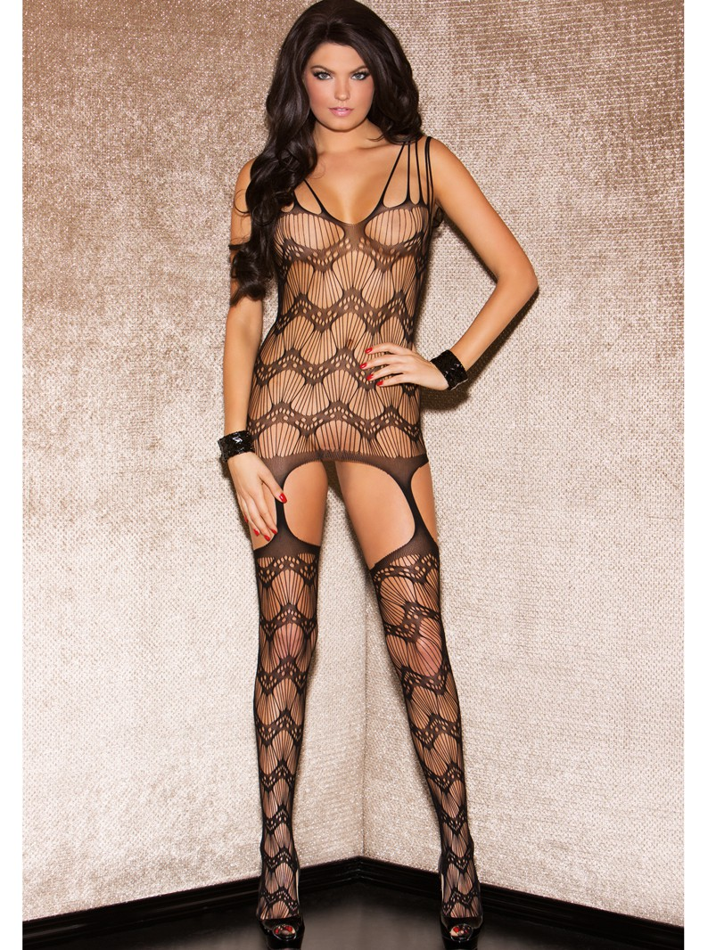 Seamless Knit Wavy Chemise w/ Attached Thigh Highs
