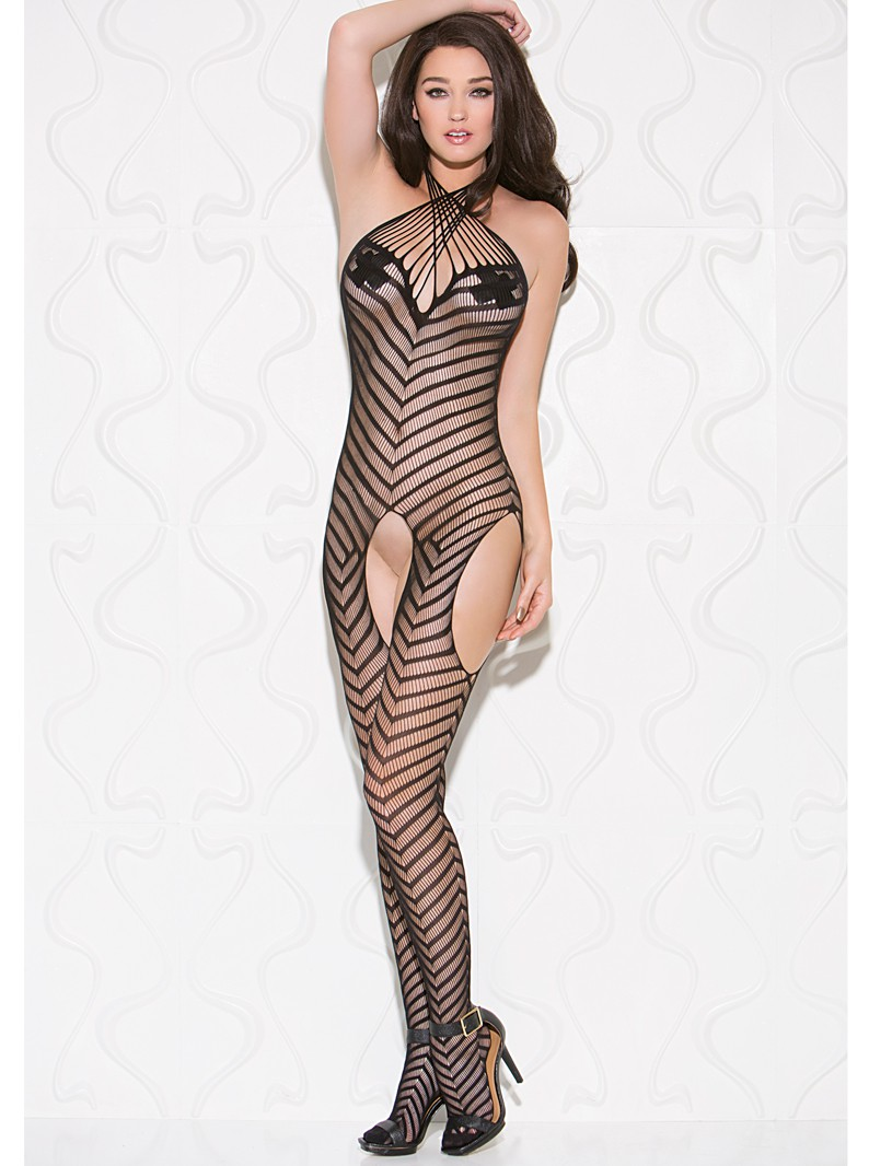 Black Chevron Striped Seamless Knit Crotchless Bodystocking