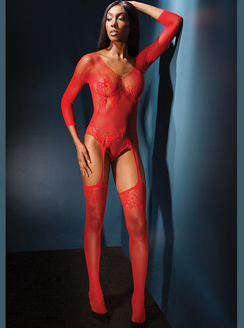 Red Seamless Knit Teddy-Bodystocking W/ Attached Thigh Highs