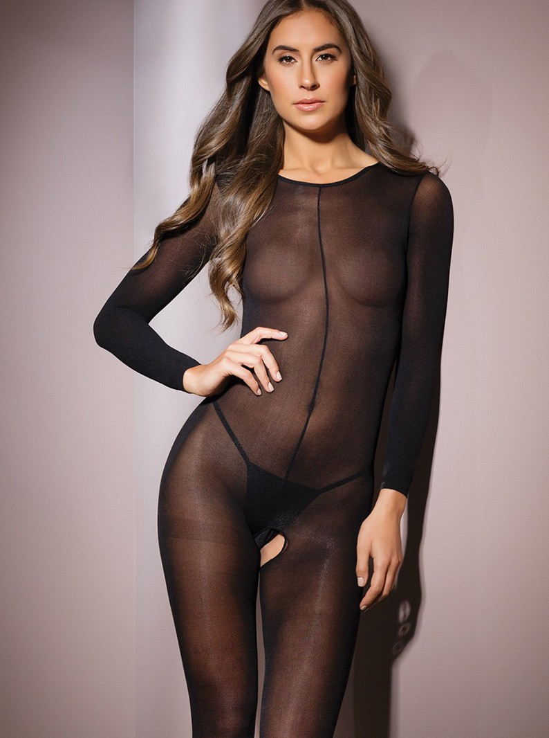 Black Sheer Crotchless Bodystocking W/ Long Sleeves