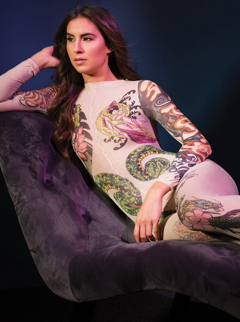 Nude Sheer & Tattoo Print Bodystocking W/ Open Crotch