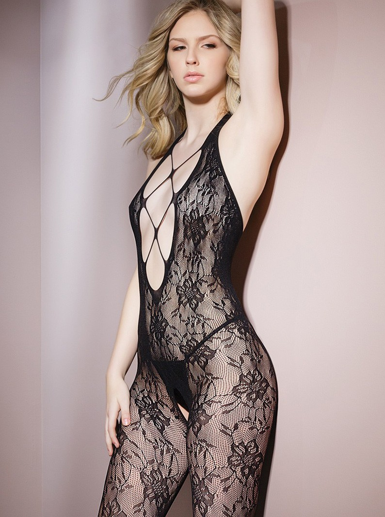 Black Lace Criss-Cross Bodystocking W/ Open Crotch