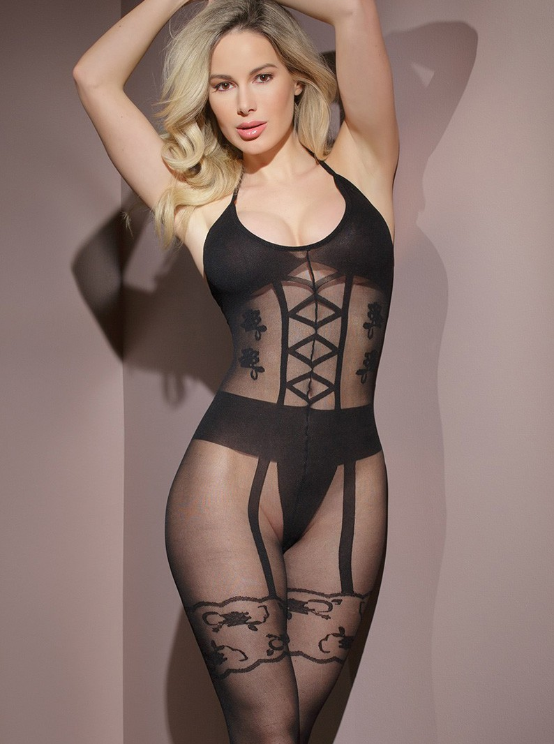 Black Sheer Crotchless Bodystocking W/ Faux Lingerie