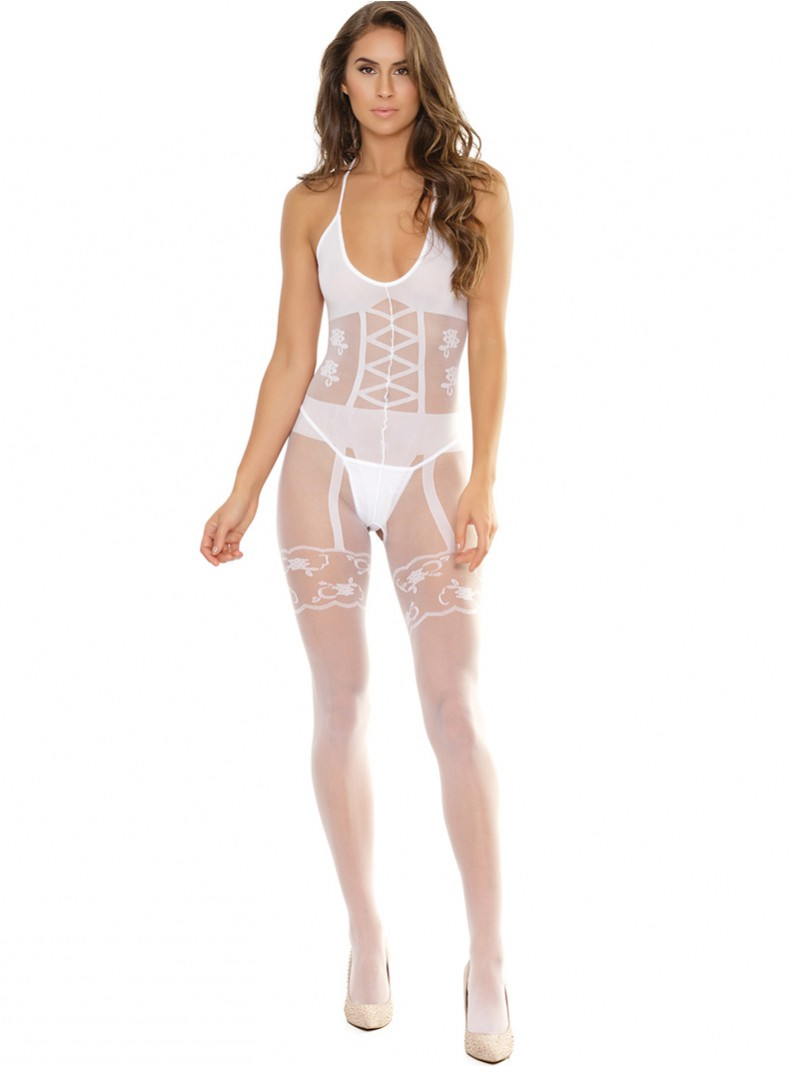 White Sheer Crotchless Bodystocking W/ Faux Lingerie