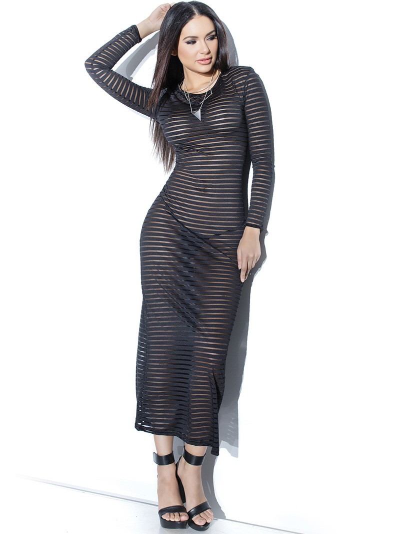 Striped Knit Long Sleeved Gown