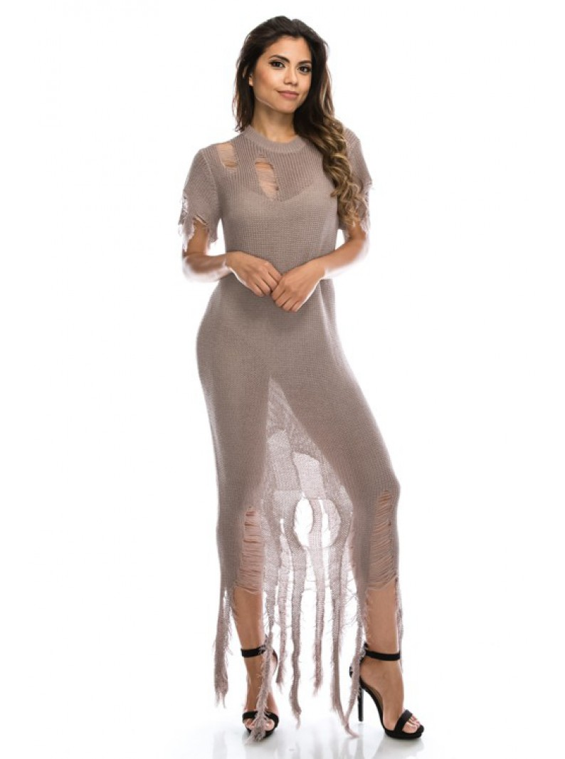 Cozy Semi Sheer Knitted Gown